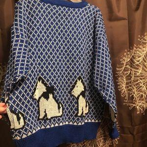 Vintage Sweaters - VINTAGE 80s 90s Scottie Dog Novelty Sweater Top M